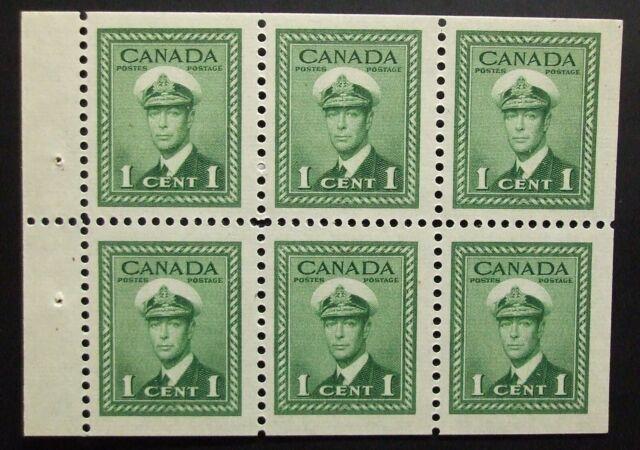 Canada Scott #249b booklet pane, MNH 1cent King George VI,1942,  Nice Margins!