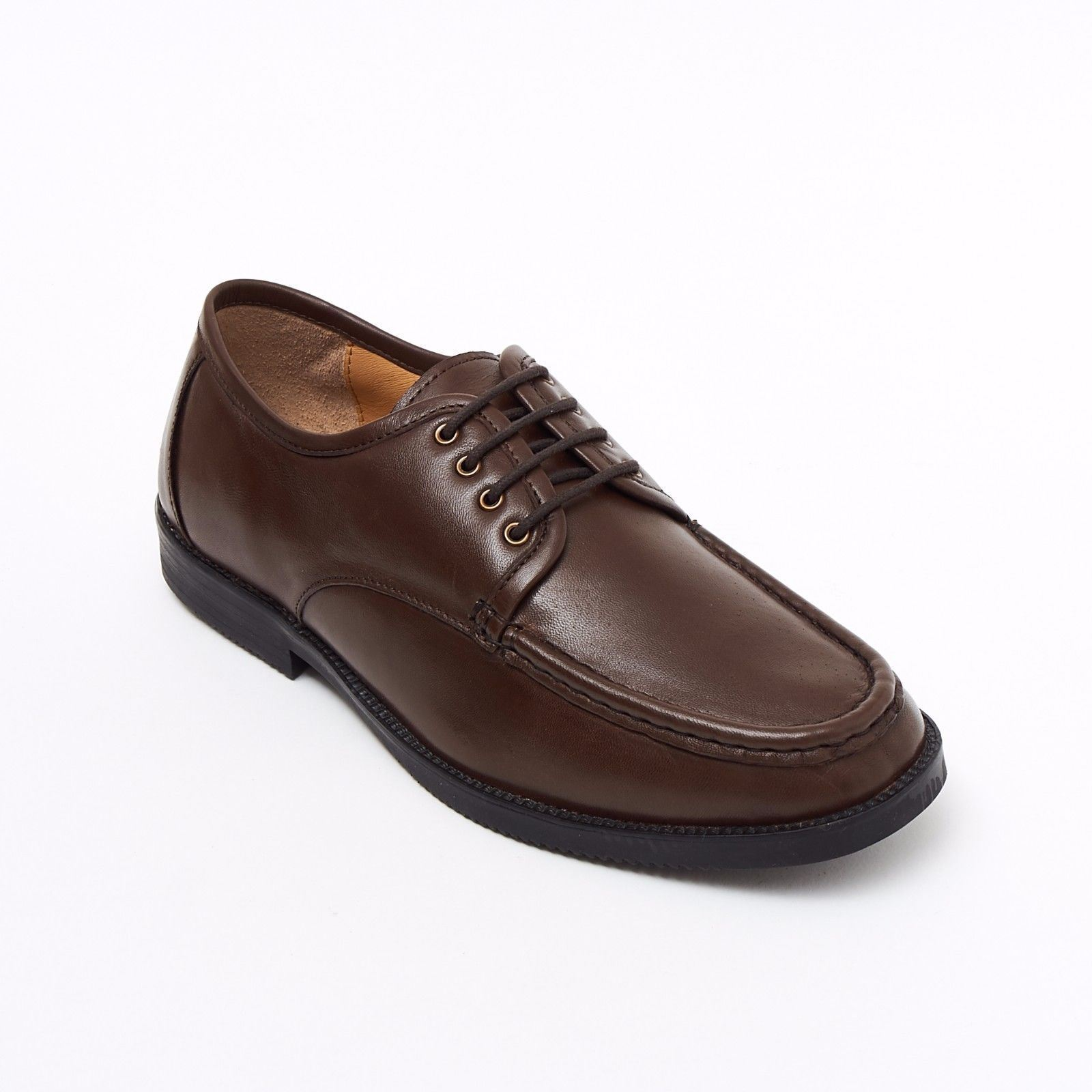 Lucini Formal Men Brown Leather 4 Eyelet Lace Up Comfort Shoes Wedding Office