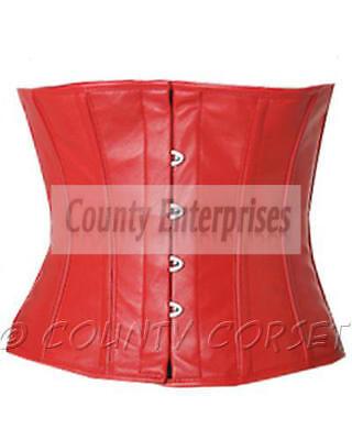 Waspie Cincher Shaper Taillen Steel Boned Waistbust Soft White Leather Corset