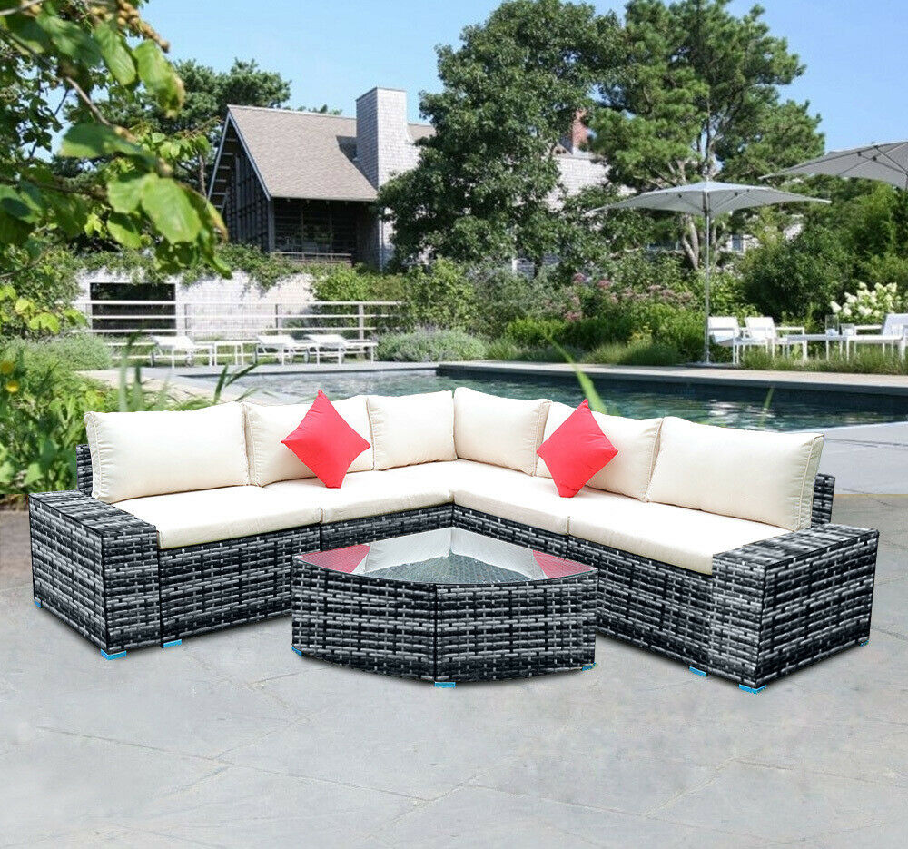 Large 10 Pieces Patio PE Rattan Wicker Sofa Set Garden Furniture Chair  Cushions