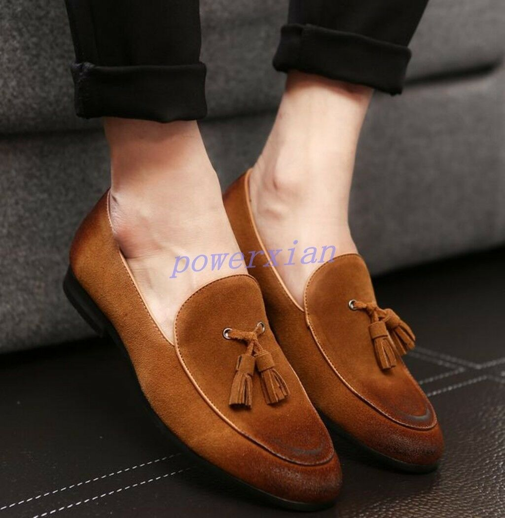 Mens Retro Oxfords Suede Leather Slip On New Loafer Dress Tassels Casual shoes