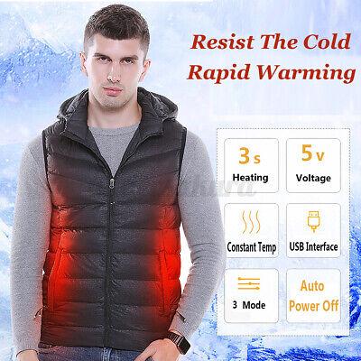 USB-Elektrisch Beheizt Weste Winter Warm Mit Kapuze Konstant Temperatur