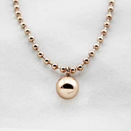 18K Rose Gold Filled Women Stunning 12MM Round Ball Beads pendant Charm Bracelet