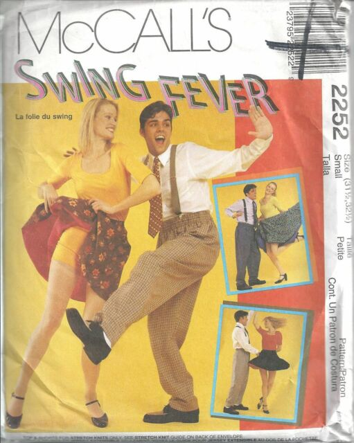 McCall's Sewing Pattern #2252 Misses Mens Swing Dance Costume Sz 31 1/2, 32 1/2