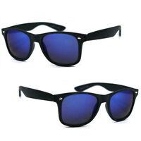 Polarized Wayfarer Spring Temple Sunglasses Matte Black Frame Blue Mirror Lens