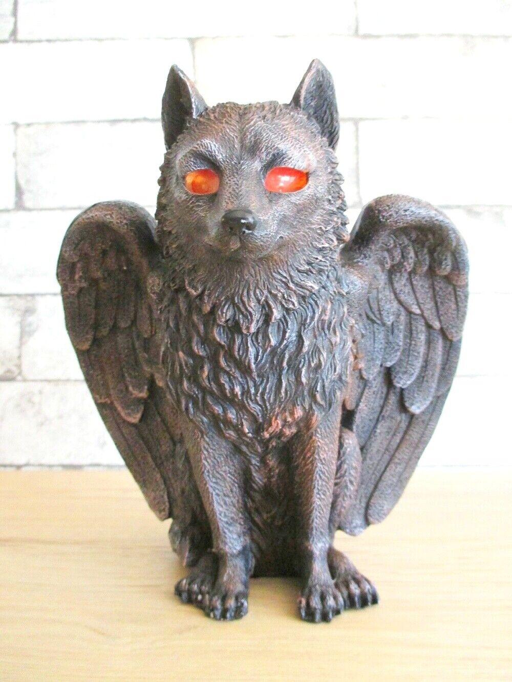 Fantasía Lobo con Ala y Soporte Velas de Té 17 Cm Ojos Luces