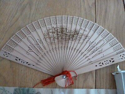Instancabile Authentic In Legno Cinese Cina Ventilatore Da Sì-mostra Il Titolo Originale