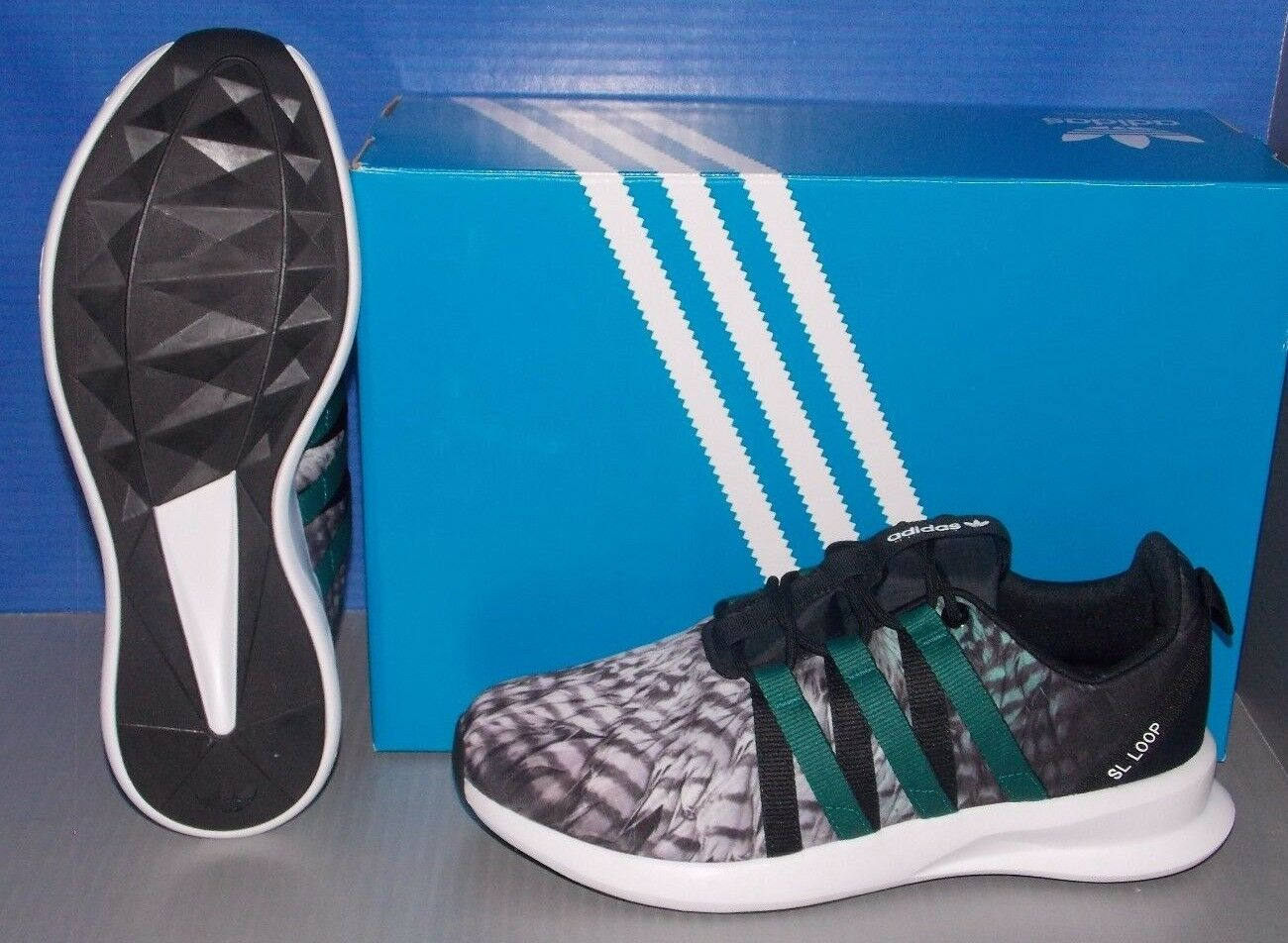MENS ADIDAS SL LOOP RACER in colors BLACK / FTW EMERAL / FTW / WHITE SIZE 11.5 58652f