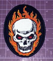 Large Skull With Flames Embroidered Patch 5.5, Biker,jacket,vest,outlaw,mc