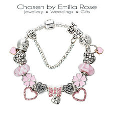 Silver & Pink Crystal Heart Charm Bracelet Rhinestone Charms Bangle Jewelry Gift