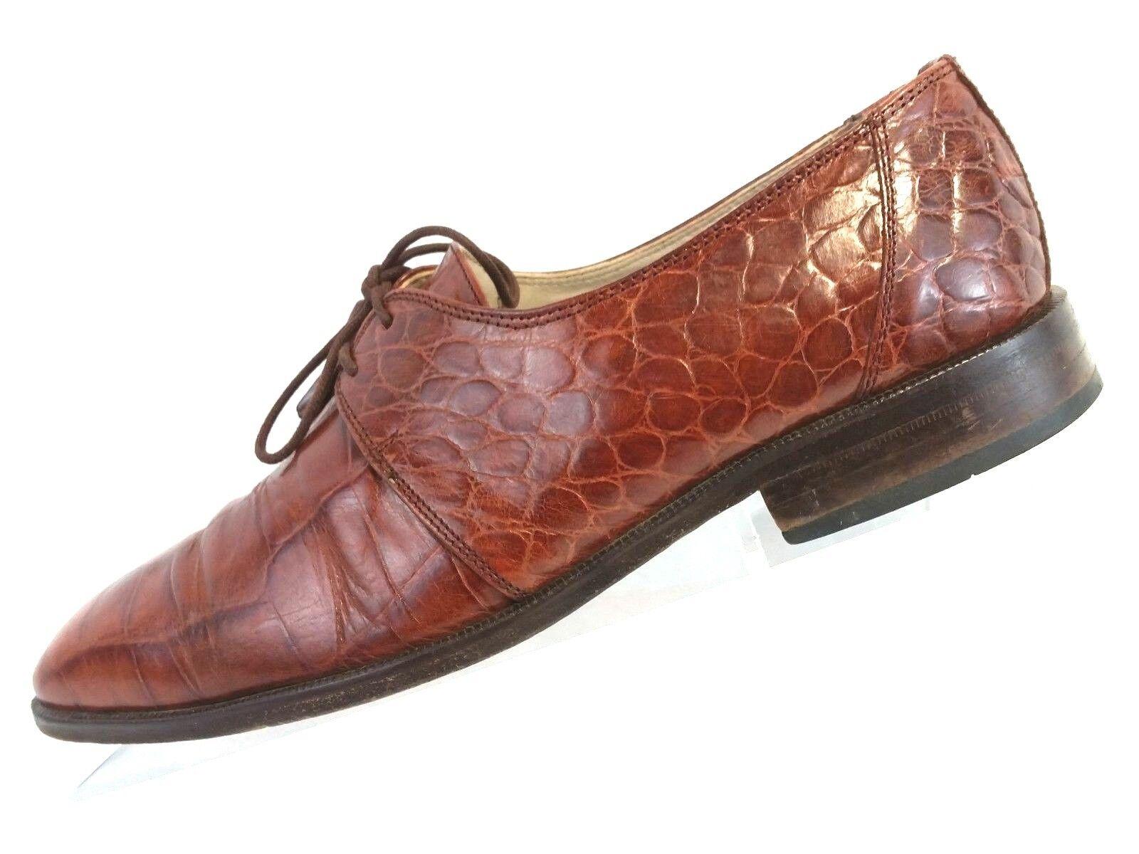Stacy Adams Spain Uomo Whiskey Pelle Moc Croc Dress Oxford Tassels Size 8 M