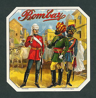 Vintage Bombay India on Super Rare Original Antique Cigar Box Label Sample Art