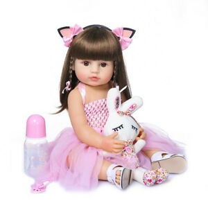 "55cm Reborn Toddler Girl Doll Pink Princess 22"" Soft Full Body Silicone Dolls"