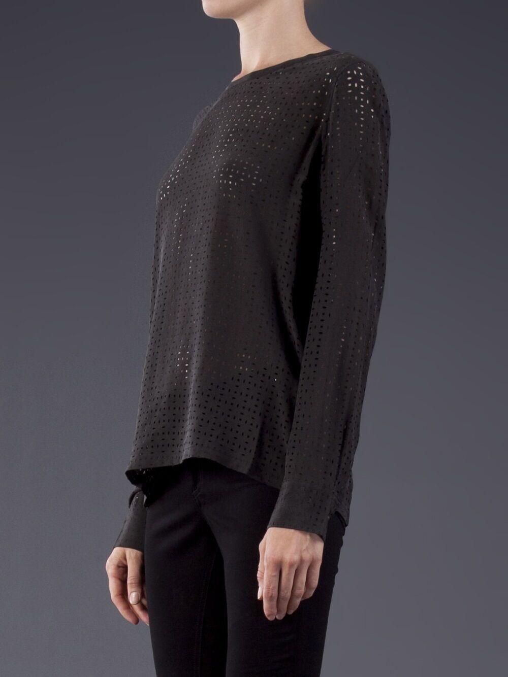 New  EQUIPMENT Liam Laser Cut Tee Top XS Silk perforated schwarz dress blouse