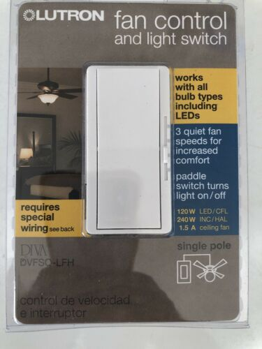 Lutron Fan Control /& Light Switch DIVA DVFSQ LFH 120W 240W INC 1.5A Single