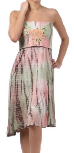 PRETTY YOUNG THING Peach Sage Strapless DRESS embroidered Detail Hi-Lo Hem