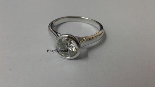 1.25 Ct Off White Moissanite Bezel Set Engagement Ring 925 Sterling Silver