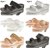WOMENS LADIES SUMMER FLAT HEEL OPEN TOE HOLIDAY BEACH FLIP FLOPS SANDALS SHOES