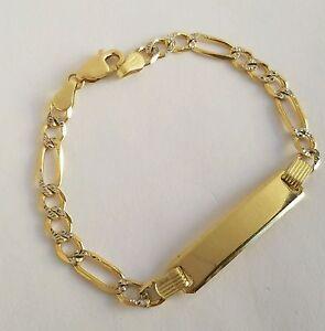 Kids Childrens 10k Yellow Gold Id Bracelet Diamond Cut Figaro Link 6