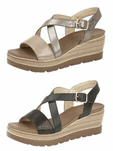 Womens-Cipriata-Strappy-Buckle-Comfort-Wedge-Heel-Sandals-BLACK-PEWTER-Size-3-8