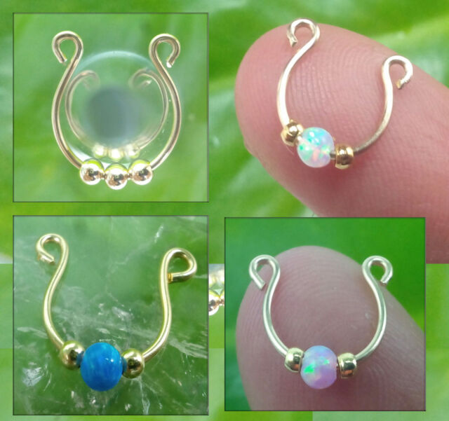 4 Fake Septum rings, 14k gold filled 3mm WHITE BLUE AND PINK OPAL