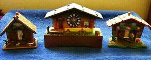BRIENZER-HOLZSCHNITZEREI-Swiss-Chalet-Clock-amp-2-TOGGILI-Berometers