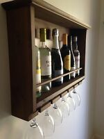 Wine Rack, Wall Mounted, Rustic, Handmade For 6 Glasses And Bottles