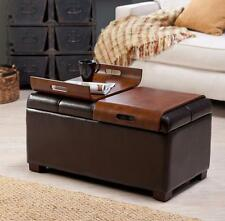 Item 1 Ottoman Storage Faux Leather Coffee Trays Convertible Bench Table Tufted Brown
