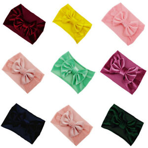 Hair Bows For Baby Girls Kids Toddler Headband Stretch Turban Knot Head Wrap &