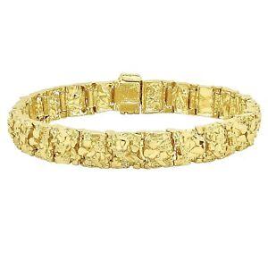 18K-Gold-Plated-Nugget-Bracelet-12-Mm-Wide-Made-In-USA-LIFETIME-WARRANTY