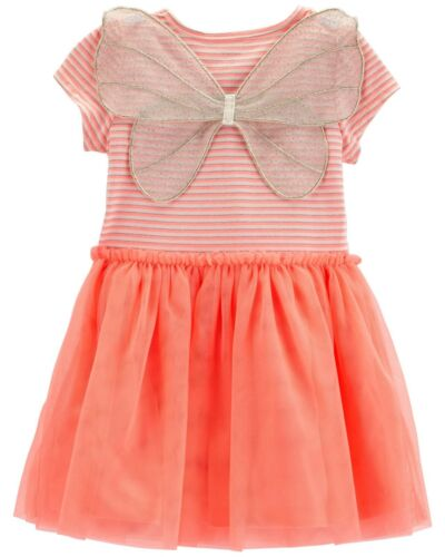 New Carter/'s Girls Neon Pink Glitter Dress Tutu Attached Wings 18m 24m 3T 4T 5T