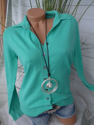 NEU 491 Heine Strick Cardigan Strickjacke Shirt Gr 36-40 Mint Grün Ton