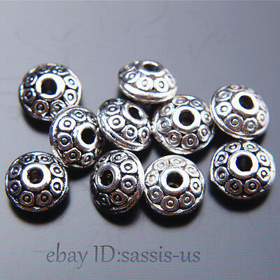 Tibetan Silver bouton forme Charm Spacer Beads Fit Bracelet Crafts Making
