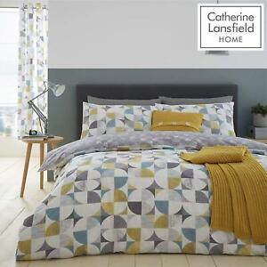 Catherine-Lansfield-Retro-Circles-Multi-Duvet-Set-Reversible-Bedding-Curtain