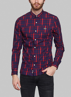 LACOSTE L!VE Men Slim Fit Graphic Plaid Sport Shirts size 38/S NEW NWT