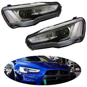 FIT-For-Mitsubishi-2008-17-Lancer-EVO-Audi-A5-Style-Headlights-Headlamp-LED-DRL