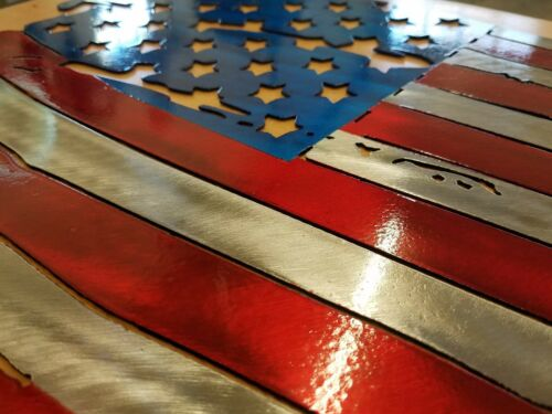 """Tattered American Flat Metal Wall art plasma cut home decor gift idea 8x12/"""""""