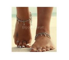 Fußkette Bettelkette Silber Fußkettchen Hänger Charms Fußschmuck Boho Ketten