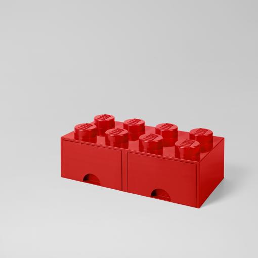 LEGO Storage Brick Stein mit Schublade stapelbar Drawer 8 Rot rot