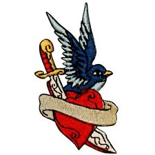 Tattoo Sparrow Swallow With Dagger Through Heart Embroidered Iron On Biker Patch