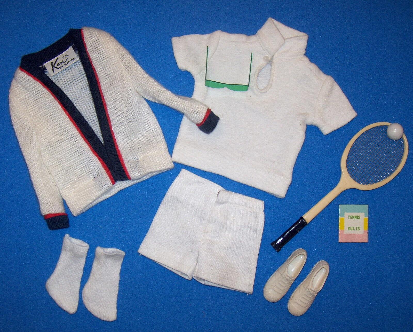 Vintage Ken Time For Tennis  790 Komplettes Outfit Schläger Ball Buch Grün