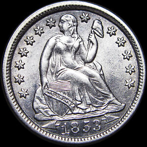 1853 Seated Liberty Dime Silver ----  GEM BU+ Type Coin    ---- #L586