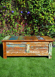 Vintage-Recycled-Timber-Hand-Carved-Blanket-Box-Storage-Chest-Trunk-Coffee-Table