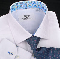 Classic White Formal Business Dress Shirt Geometric Plaids & Checks Blue Floral
