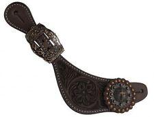 Showman LADIES Argentina Cow Leather Spur Straps w/ Copper Raised Cross Conchos!