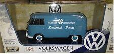 VW Bus Type 2 Volkswagen T1 Delivery Van Diecast 1:24 Motormax 8in Blue TEXT