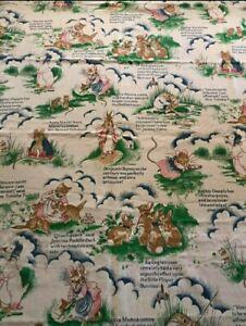 "Vintage Beatrix Potter Barkcloth? Fabric Peter Rabbit 85"" x 58"" Mouse Duck Frog"