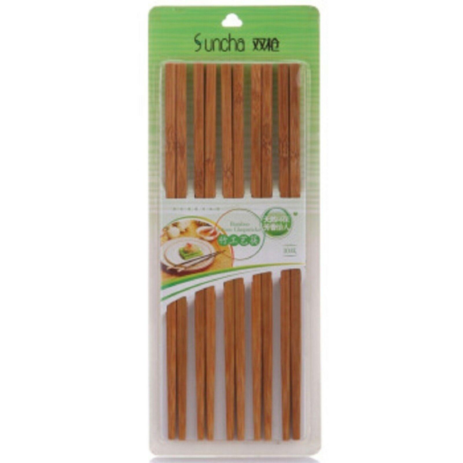 10 Paar Essstäbchen Sushi Stäbchen Eßstäbchen Asia Bambus Holz