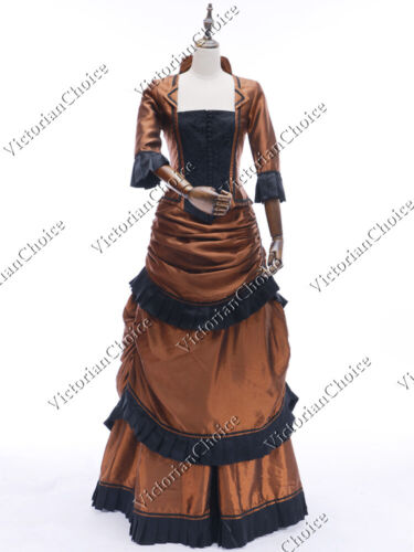 Old Fashioned Dresses | Old Dress Styles    Victorian Edwardian Form Fitting Bustle Taffeta Dress Riding Habit Gown CF011  AT vintagedancer.com