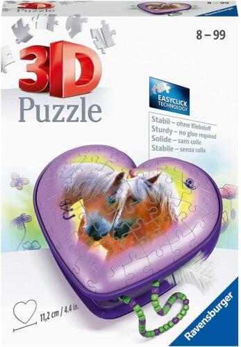 RAVENSBURGER 11171-3d Puzzle 54 pezzi-cuore CASSETTA CUORE riquadro Cavalli Nuovo